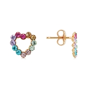 Rose Gold Sparkle Rainbow Heart Earrings by Argento