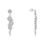 Silver Crystal Drop Earrings by Argento