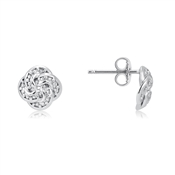 Argento Silver Crystal Knotted Stud Earrings