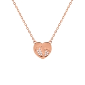 Argento Rose Gold Crystal Baby Feet Necklace