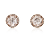 Kate Spade New York Rose Gold Clear Sparkle Round Earrings