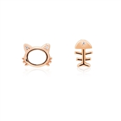 Argento Rose Gold Cat and Fish Stud Earrings