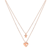 Rose Gold Double Angel Heart Necklace by Argento