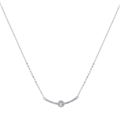 Argento Silver Solitaire Crystal Bar Necklace