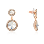 Rose Gold Crystal Halo Drop Earrings by August Woods