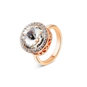 August Woods Rose Gold Crystal Halo Adjustable Ring