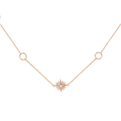 August Woods Rose Gold Opal Star Long Necklace