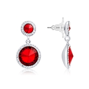 Silver & Red Crystal Halo Drop Earrings by August Woods