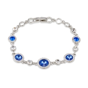 August Woods Silver & Blue Crystal Halo Bracelet