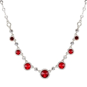 August Woods Silver & Red Crystal Halo Necklace
