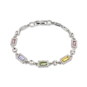August Woods Silver Pastel Rainbow Crystal Bracelet