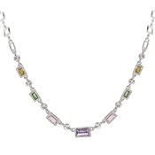 August Woods Silver Pastel Rainbow Crystal Necklace