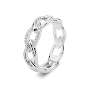 Argento Silver Crystal Links Chain Ring
