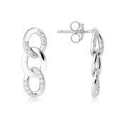 Argento Silver Crystal Links Drop Earrings