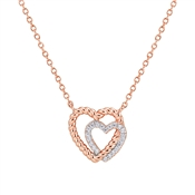 Argento Rose Gold Rope Heart Necklace