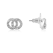 Dirty Ruby Silver CZ Double Link Stud Earrings