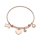 Karma Rose Gold Heart Crystal Bangle