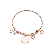 Karma Rose Gold Heart Disc Bangle