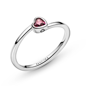 Pandora Red Tilted Heart Solitaire Ring