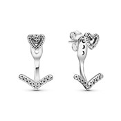 Pandora Sparkling Wishbone Heart Stud Earrings