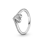 Pandora Sparkling Wishbone Heart Ring