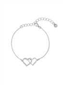 Ted Baker Silver Crystal Linked Hearts Bracelet
