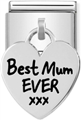 Nomination Silvershine Best Mum Ever Heart Charm
