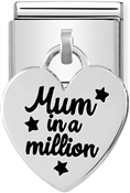 Silvershine Mum In A Million Heart Charm  by Nomination