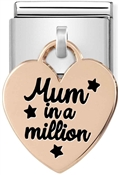 Nomination Rose Gold Mum In A Million Heart Charm