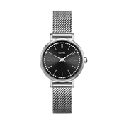 CLUSE Silver + Black Boho Chic Petite Crystals Watch