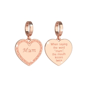 Rose Gold Mum Charm  by Rebecca