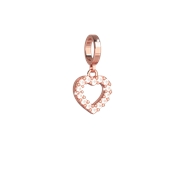 Rebecca Rose Gold Crystal Open Heart Charm