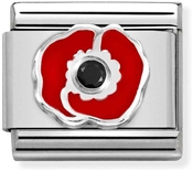 Nomination Silver + Red Poppy Charm