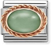 Nomination Rose Gold Green Aventurine Oval Charm