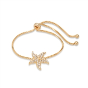 Dirty Ruby Gold Starfish Pull Bracelet