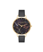 Olivia Burton Black & Gold Butterflies Vegan Watch