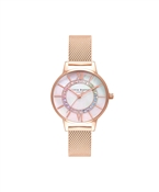 Olivia Burton Rainbow Rose Gold Mesh Wonderland Sparkle Watch