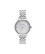 Olivia Burton Silver Mother Of Pearl Dial Bracelet Watch