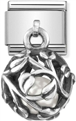 Nomination Silver Leaves + White Pearl Hanging Cage Charm