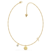 Guess Gold Peony Crystal Necklace