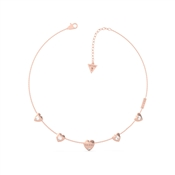 Guess Lovers Hearts Rose Gold Necklace