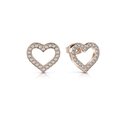 Guess Rose Gold Crystal Heart Frame Earrings