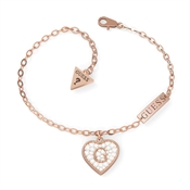 Guess Rose Gold Crystal Heart Shine Bracelet