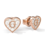 Guess Rose Gold Crystal Heart Shine Earrings
