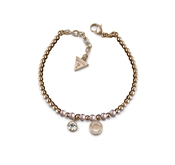Guess Uptown Chic Pink Pearl Logo Bracelet