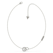 Guess Silver Embrace Rings Logo Necklace