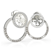 Guess Silver Embrace Rings Logo Earrings