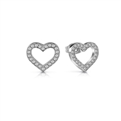 Guess Silver Crystal Heart Frame Earrings