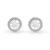 Guess Silver Logo Crystal Earrings