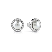 Guess Silver Crystal Pearl Button Earrings
